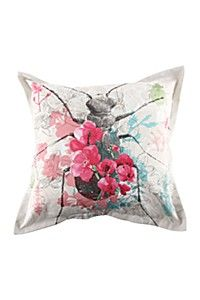 PRINTED BEETLE AND FLORAL 55X55CM SCATTER CUSHION