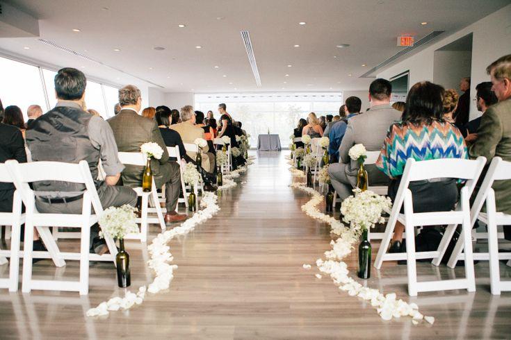 White Bottles With Flowers Phoenix Scottsdale Wedding Ceremony Venue Aisle Decor The Clayton On Park