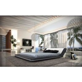Marquee - Contemporary Leather Platform Bed with LED Lights - 1725.0000 kinda sorta super want.