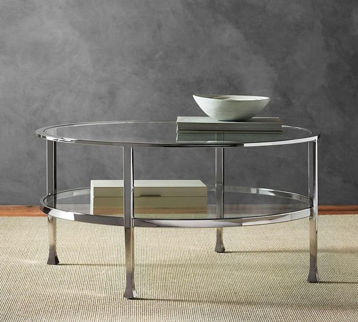 Tanner Round Coffee Table Polished Nickel Finish Living Rooms Pinterest Polished Nickel