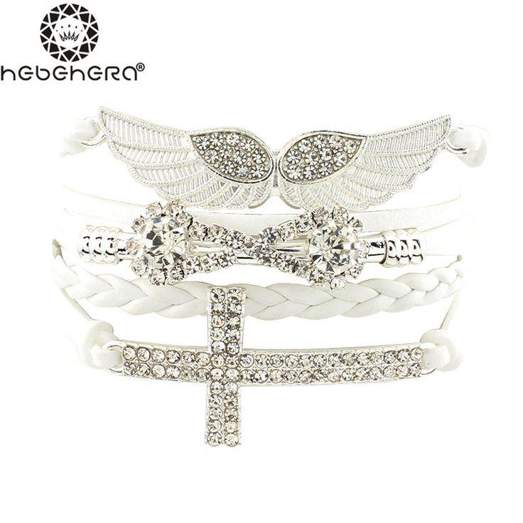 Nuovo Arrivo Delle Donne Eleganti Braccialetti di Amicizia Completa Pietra Ali Croce Infinity Prezzo All'ingrosso