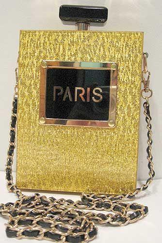Tigerstars l $42.00 Glittering Gold Paris Perfume Bottle Clutch Bag Purse Case Handbag