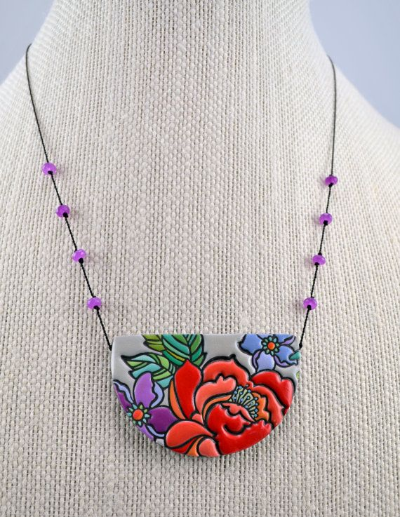 Floral Peony Pendant Ceramic Jewelry Colorful by cavaticadesigns