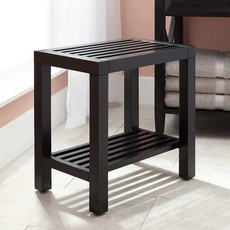 Glympton Bathroom Stool   Black
