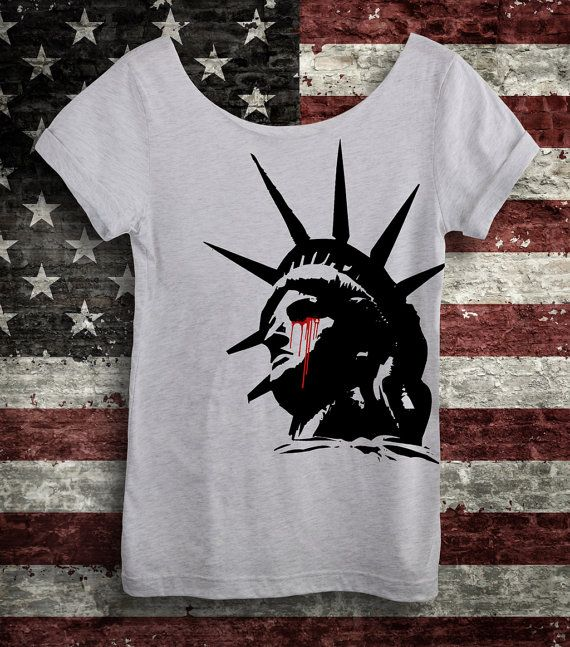 HATE TRUMPED LOVE Shirt. Women's Off-the-Shoulder Slouchy Ash White Tee. Nasty Women Unite! Not My President! Statue of Liberty Crying Blood