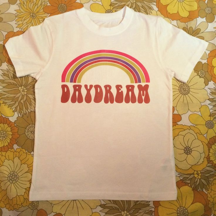 Hippie boho vintage retro 60s 70s: white rainbow daydream tshirt  It is printed onto a quality thick neckline t-shirt. It is also unisex PM ME TO BUY. Handmade by myself with my own original design, so please don't copy to also sell on depop ☺️