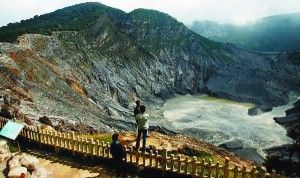 Tangkuban Perahu Mountain, Bandung, Indonesia, One of the most popular travel destination in Bandung.