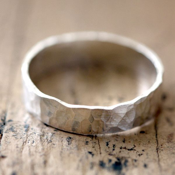 Narrow Hammered Wedding Ring Sterling Silver. I love the simplicity of this for the groom. :)