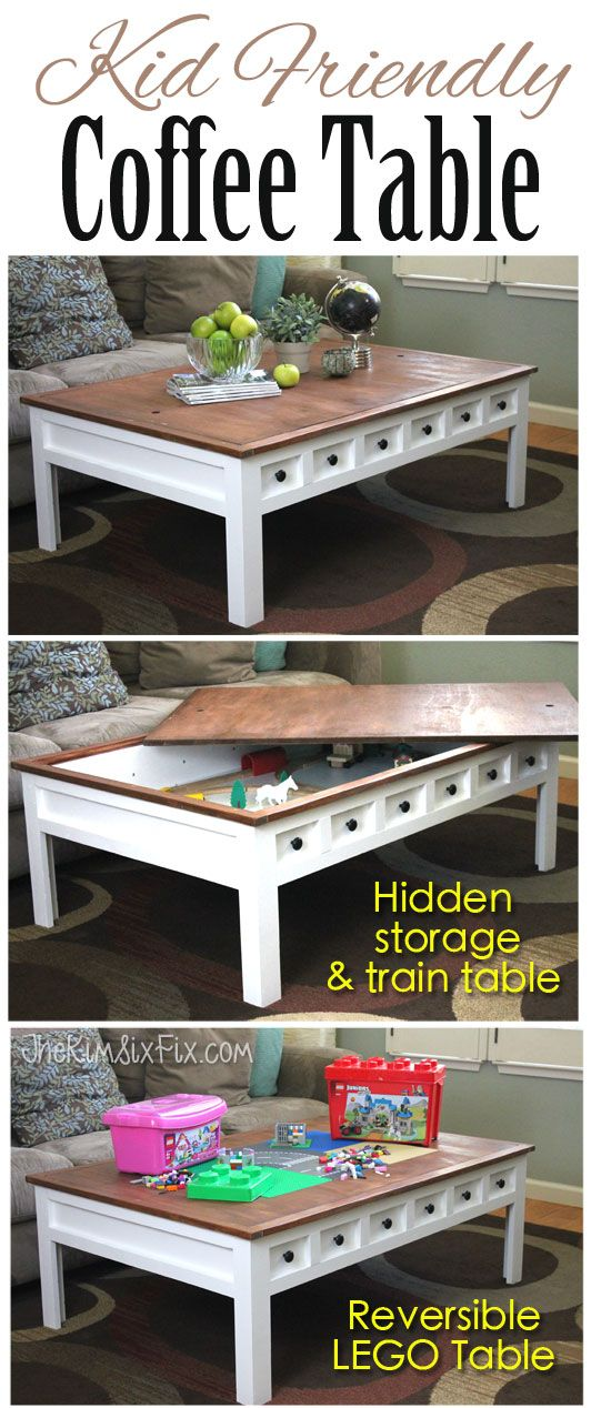 Apothecary Style Coffee Table with Hidden LEGO and Train Play Areas via www.TheKimSixFix.com