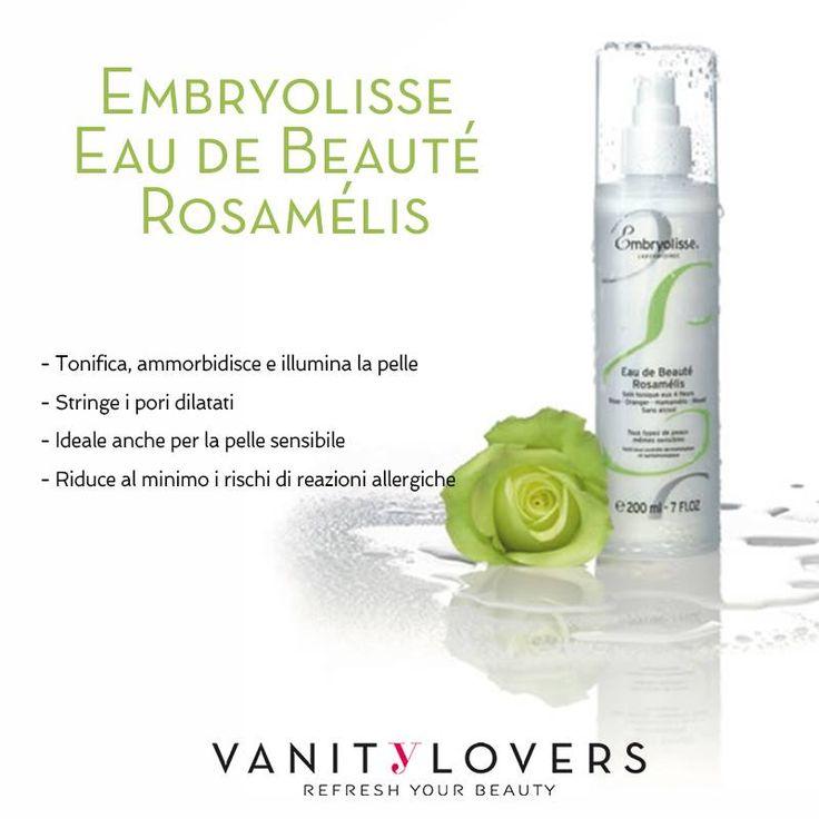 Rosamélis di Embryolisse è l'ideale per te anche se hai la pelle sensibile! Usala per purificare a fondo la pelle e lasciarla morbida e radiosa a lungo. http://www.vanitylovers.com/embryolisse-eau-de-beaute-rosamelis.html?utm_source=pinterest.com&utm_medium=post&utm_content=mitrucco-embryolisse-eau-de-beaute-rosamelis&utm_campaign=pin-mitrucco