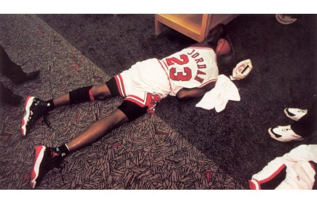 "Michael Jordan Overwhelmed in the Jordan XI ""Bred"""