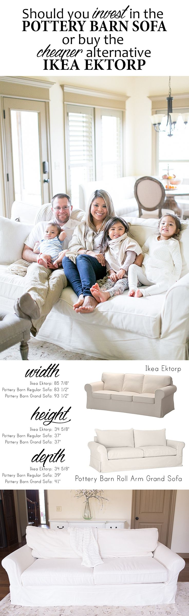 Full detailed review of the Pottery Barn Grand Sofa with pictures of the sofa with all their kids on it! Includes a side by side comparison on dimensions and price. Great read!