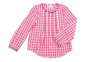 Blusa para niña en tela de cuadritos fucsia y blancos. Cuello redondo y mangas largas.