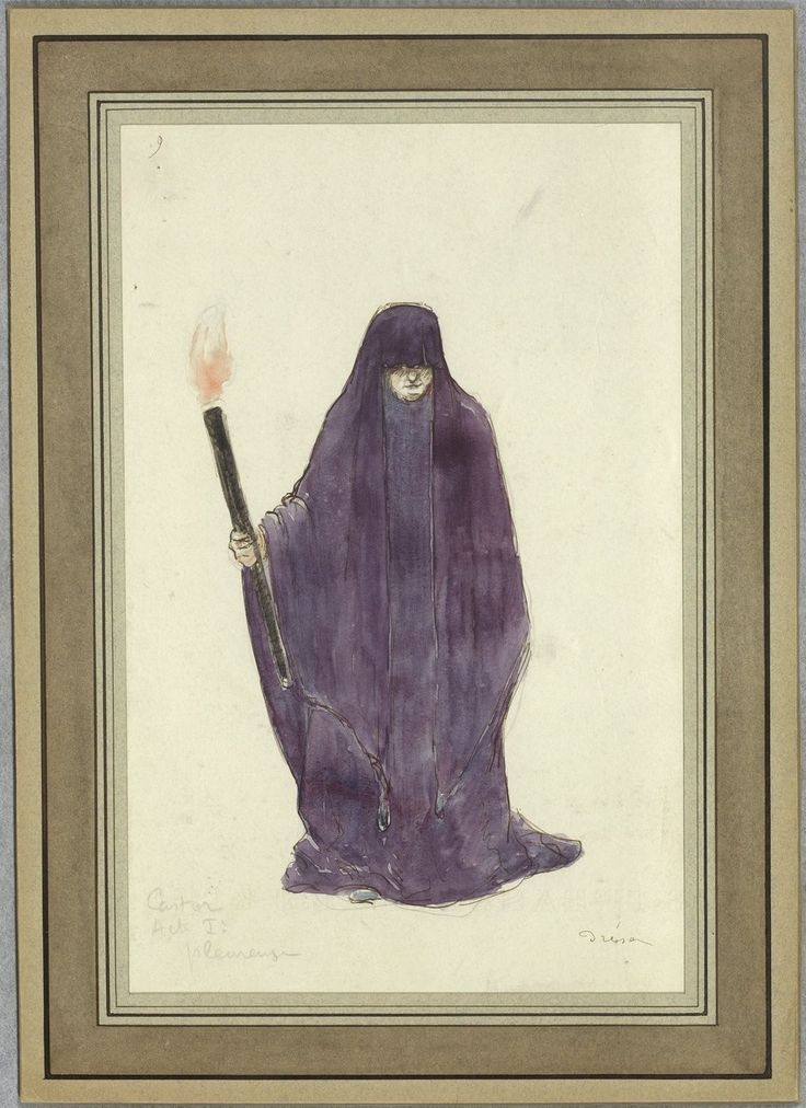 """Costume design (1918), by Jacques Drésa (1869-1929), for a mourner, in Act 1 of """"Castor et Pollux"""" (1737), by Jean-Philippe Rameau (1683-1764)."""