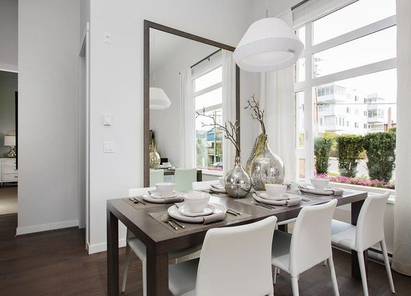 Dining Room with Over sized mirror