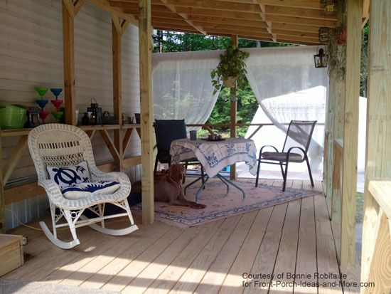 Love How This Homeowner Decorated Her Mobile Home Porch With Pretty  Furniture And Whimsical Porch Curtains