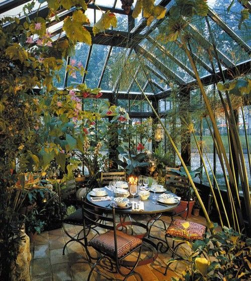 tropical garden...oh how I would love to have a greenhouse attached to my home to grow beautiful favorites #conservatorygreenhouse #greenhousegardening