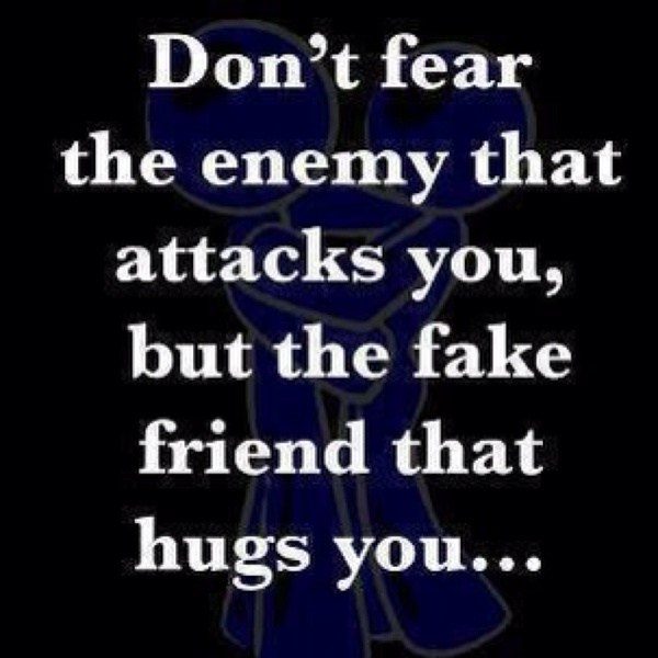 """Grip of Reality_frenemy_""""Don't fear the enemy that attacks you, but the fake friend that hugs you.""""  Yep. And I'm betting you don't even realize it."""