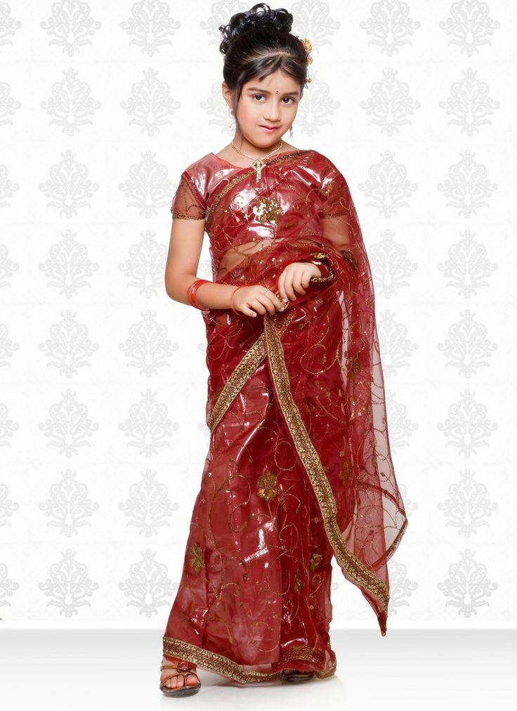 Deep Red Kids Traditional Saree