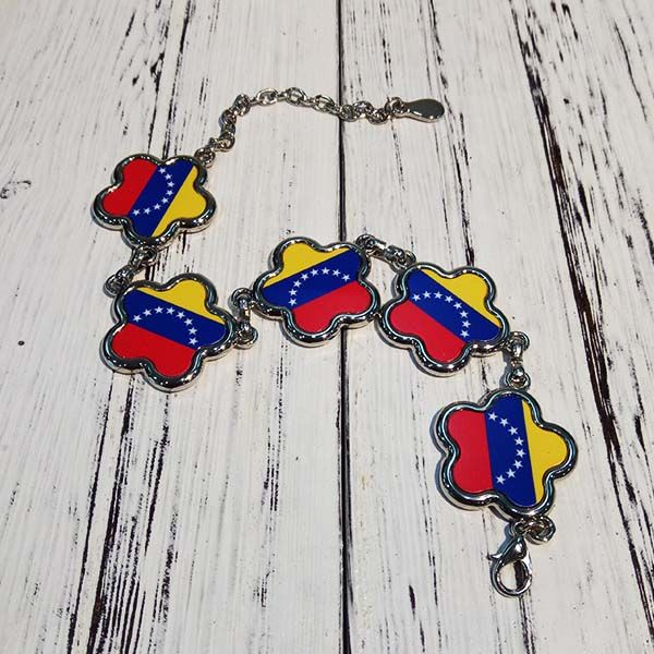 Venezuela National Flag South America Country Symbol Mark Pattern Flower Shape Metal Bracelet Chain Gifts  #Bracelet #Blue #Red #Yellow #National #Flag #SouthAmerica #Flower #Gift #Symbol #diy #Simple #Handmade #Creative #Metal #Design #Jewelry #Chain