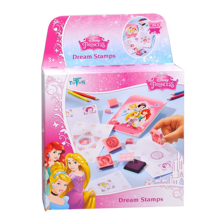Complete Disney Prinses stempelset bestaande uit diverse Disney Prinses stempels, stempelkussen, kleurpotloden, tekenblokje en instructies. Afmeting: verpakking 17,5 x 17,5 x 3,5 cm - Disney Prinses Stempelset