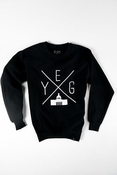 YEG Edmonton Crewneck Sweatshirt in BLACK from Local Laundry, available at Labrador Supply Co.