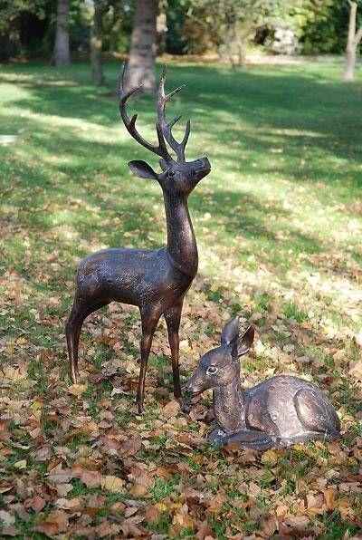 Large Stag And Doe Metal Sculptures From Gardensite. #garden #deer #stag #