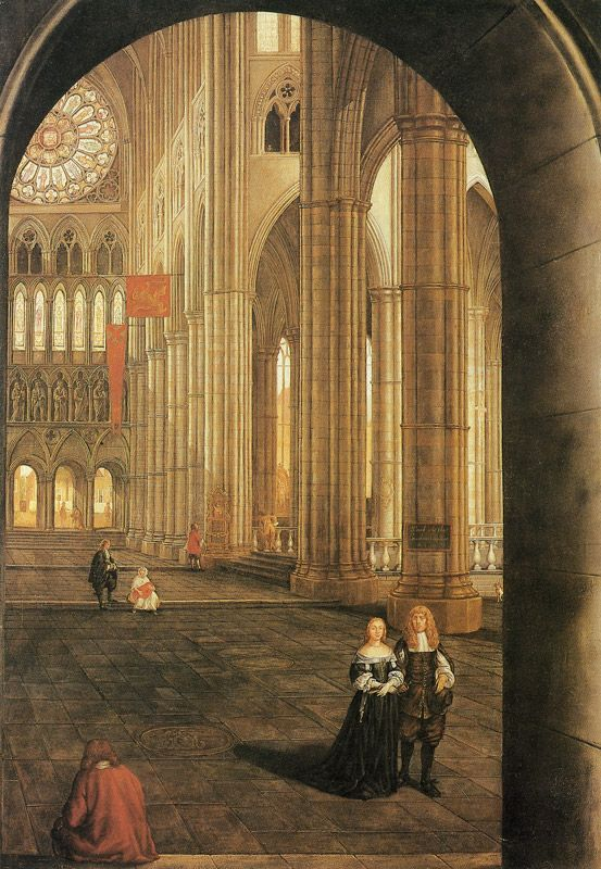 ''Samuel Van Hoogstraten, Interior of Westminster Abbey, London''. It's sometimes a shock to see period figures placed in settings which are familiar to us.