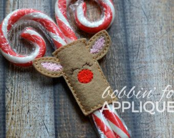 Reindeer Candy Cane Holder Sleeve ITH In the Hoop Embroidery Design