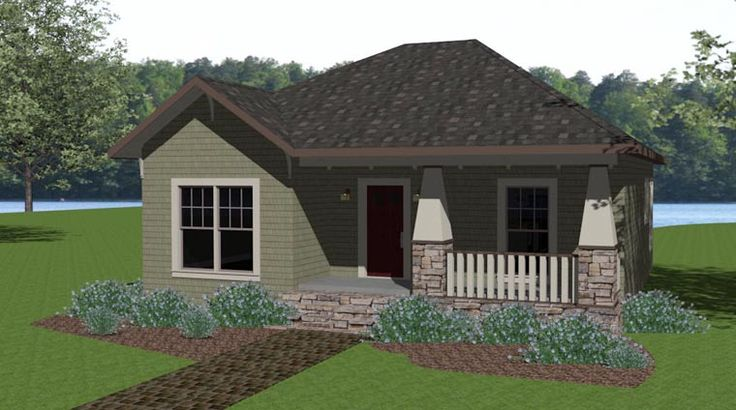 House Plan 64576 | Craftsman Plan with 1073 Sq. Ft., 2 Bedrooms, 2 Bathrooms