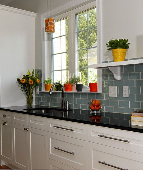 White Kitchen Cabinets And Countertops: Black Counter Top With Aqua Green Backsplash Tiles And