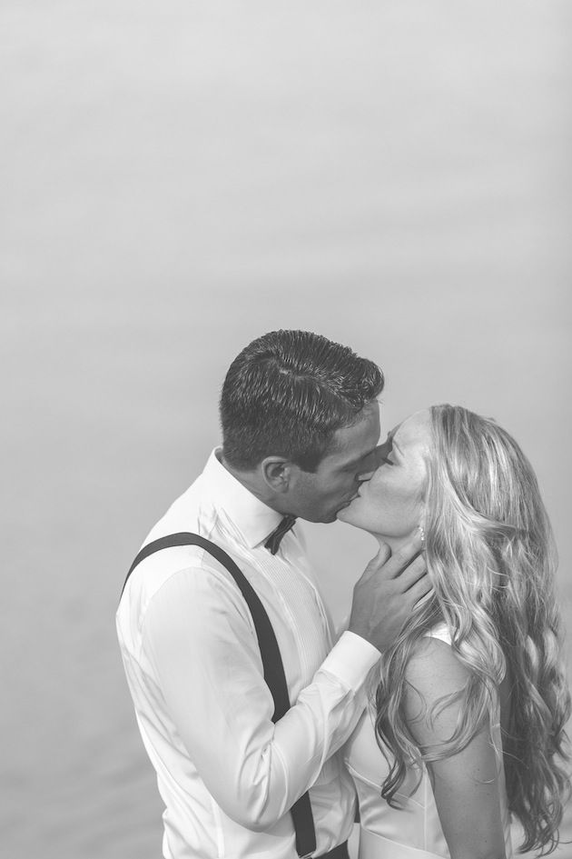 classic, perfect bride and groom kiss
