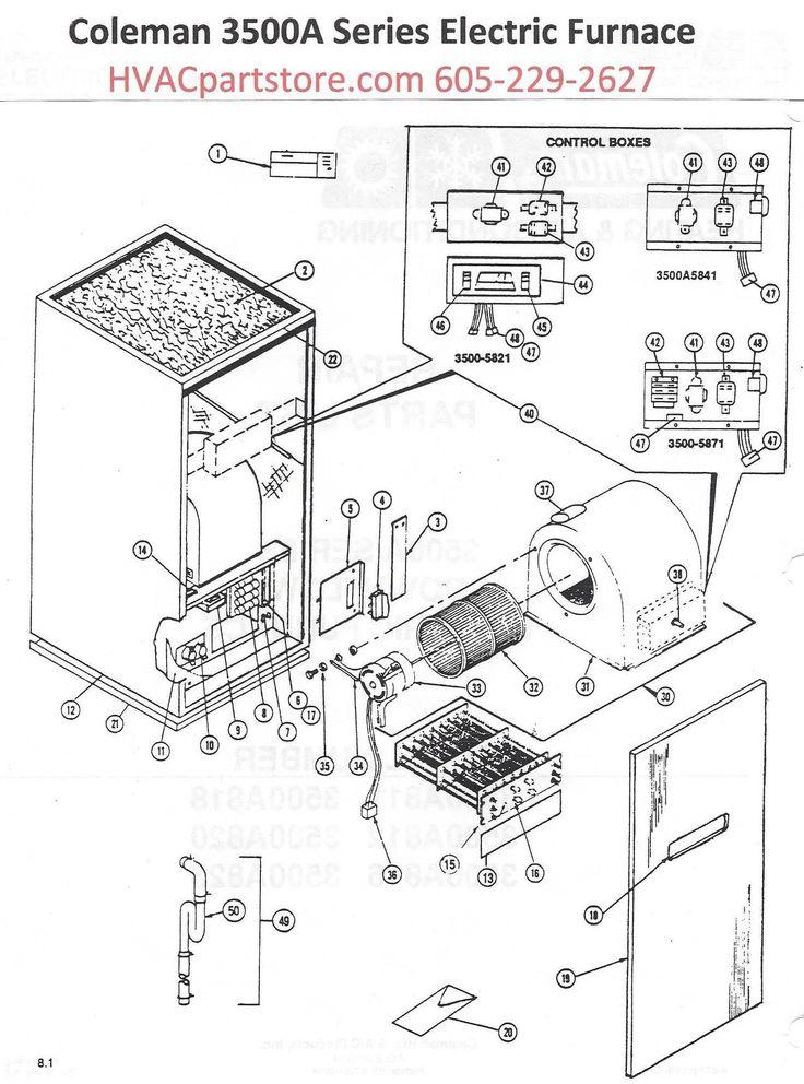 3500A820 Coleman Electric Furnace Parts