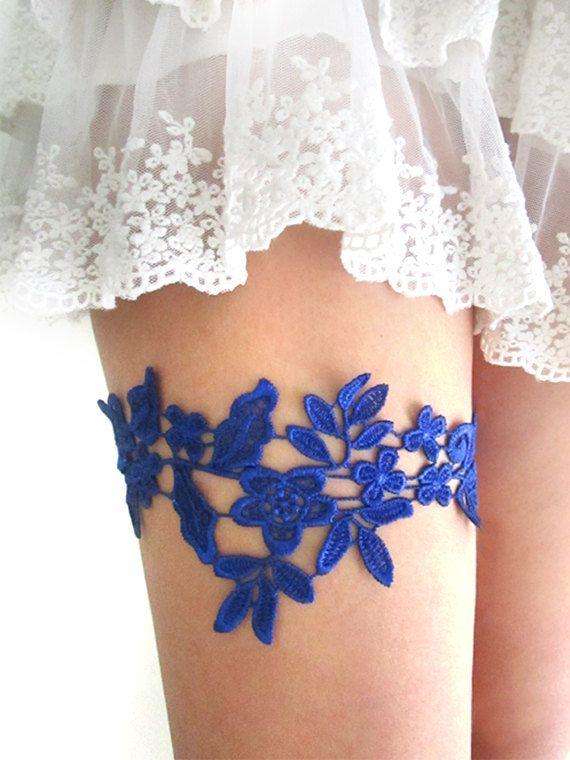 Royal Blue Garter, Wedding Garter, Garter Belt, Bridal Garter, Lace Garter, Blue…