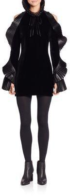 Ralph Lauren Collection Priscilla Leather-Trimmed Velvet Dress, Leather Dress, schwarz, black, Leder Outfits, Ledermode, Leather, Fashion, Dress