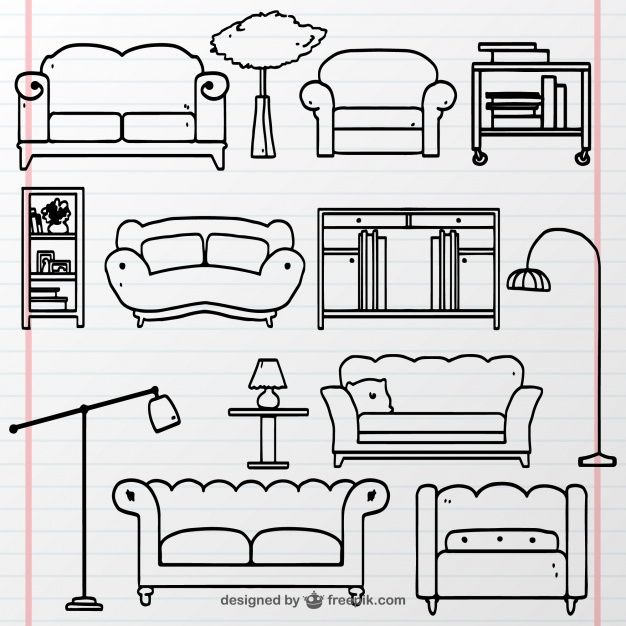 Collection Of Hand Drawn Furniture Free Vector In 2020 Vector