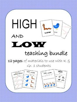 "Looking for new ways to teach and assess high & low in music with your youngest students? This bundle is perfect for use in K or Gr.1 classrooms. The materials in this package use symbols rather than words to represent ""high"" and ""low"", allowing even pre-readers to demonstrate on paper what they know."