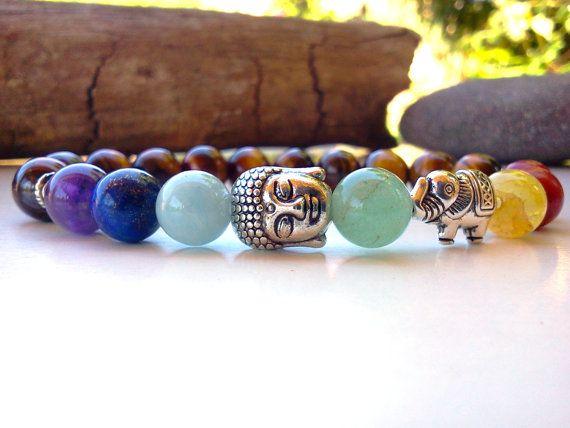Pulsera de Buddha de elefante Chakra pulsera pulsera de