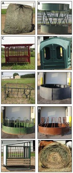 Nine round-bale feeders, specifically manufactured and marketed to the horse industry, were tested, including (Figure 1):Photos of the nine round-bale feeders tested