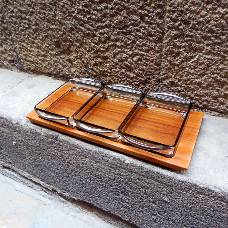 """Beautiful snack tray """"Kabaret"""" line made by danish Holmegaard in the 1950s. The…"""