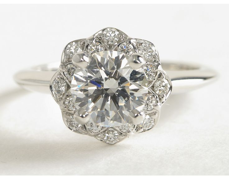Floral Halo Diamond Engagement Ring in 14k White Gold (1/10 ct. tw.) | Blue Nile