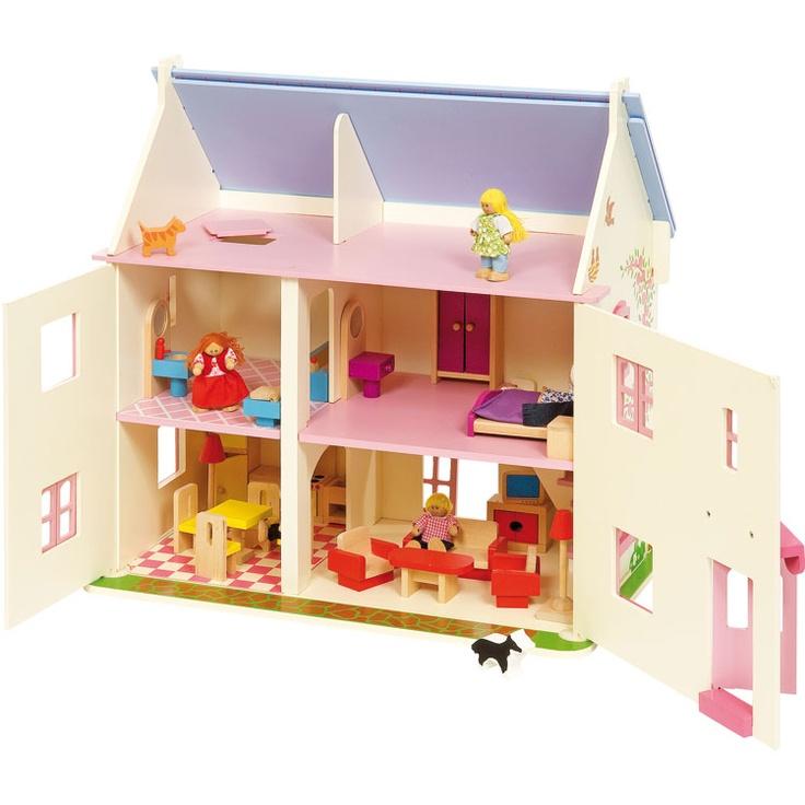 Wonderful Bigjigs Rose Cottage Dolls House Is Fully Furnished U0026 Includes Family Of  Dolls, Pet Cat U0026 Dog. This Award Winning Dolls House Also Features Sliding  Patio ...