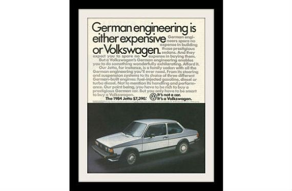 "1984 Volkswagen Jetta Car Ad ""German Engineering"" Vintage VW Advertisement Print"