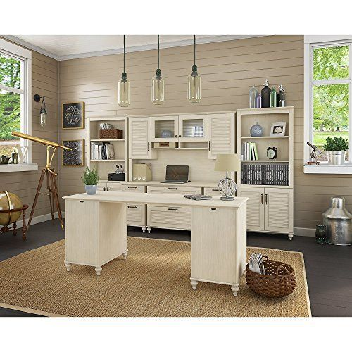Turn your workspace into an exquisite island retreat with the kathy ireland Office by Bush Furniture Volcano Dusk Collection. This Double Pedestal Desk with Credenza, Hutch and Bookcases set offers louvered doors, beautiful hand-painted details and decorative bun feet. Elegant Antique Bronze... more details available at https://furniture.bestselleroutlets.com/home-office-furniture/computer-armoires-hutches/product-review-for-kathy-ireland-office-volcano-dusk-double-pedestal-d