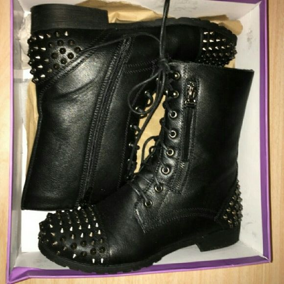 Leather studded combat boots #leather #studded #combat #boots #new Shoes Combat & Moto Boots