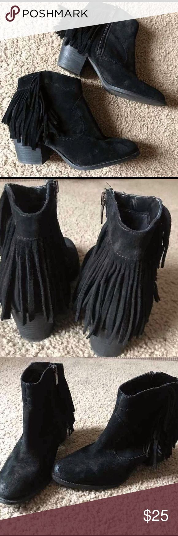 "Marc Fisher Black Fringe Ankle Boots (7) Black Marc Fisher Suede Fringe Ankle Booties size 7 ~ Fit true. Leather upper Retail $49  ""Distressed"" intentionally. Great Condition. (See all pics).  Heel height that's just right for day night. side zipper  Fringe detail, side ankle zipper Padded insole Heel 2-1/4""  ❤️ Unless Otherwise stated NWT, all items for sale are from my OWN closet, and are (GENTLY) used, unless otherwise described differently. Please don't expect items that aren't NWT to…"