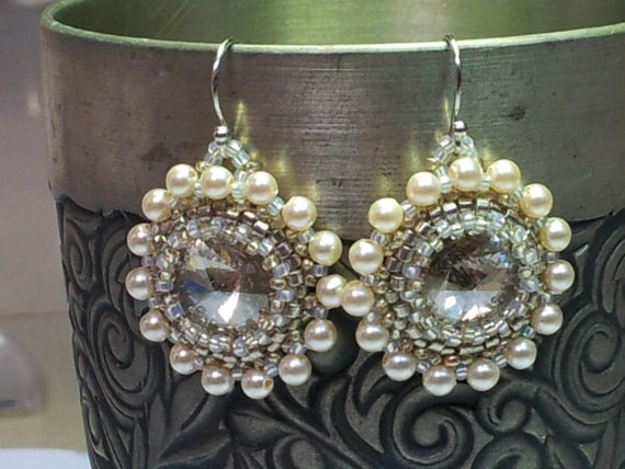 Handsewn Swarovski grey and pearl drop earrings by SandyYuDesign, $35.00