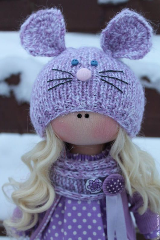 Dolls tykvogolovki handmade.  Lavender mouse.  Elena.  Arts and crafts fair.  Handmade doll, gift girl, jersey cotton