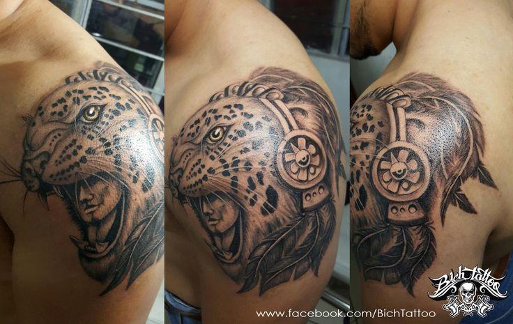 Guerrero jaguar tattoo realizado por h ctor le n para for Jaguar warrior tattoo