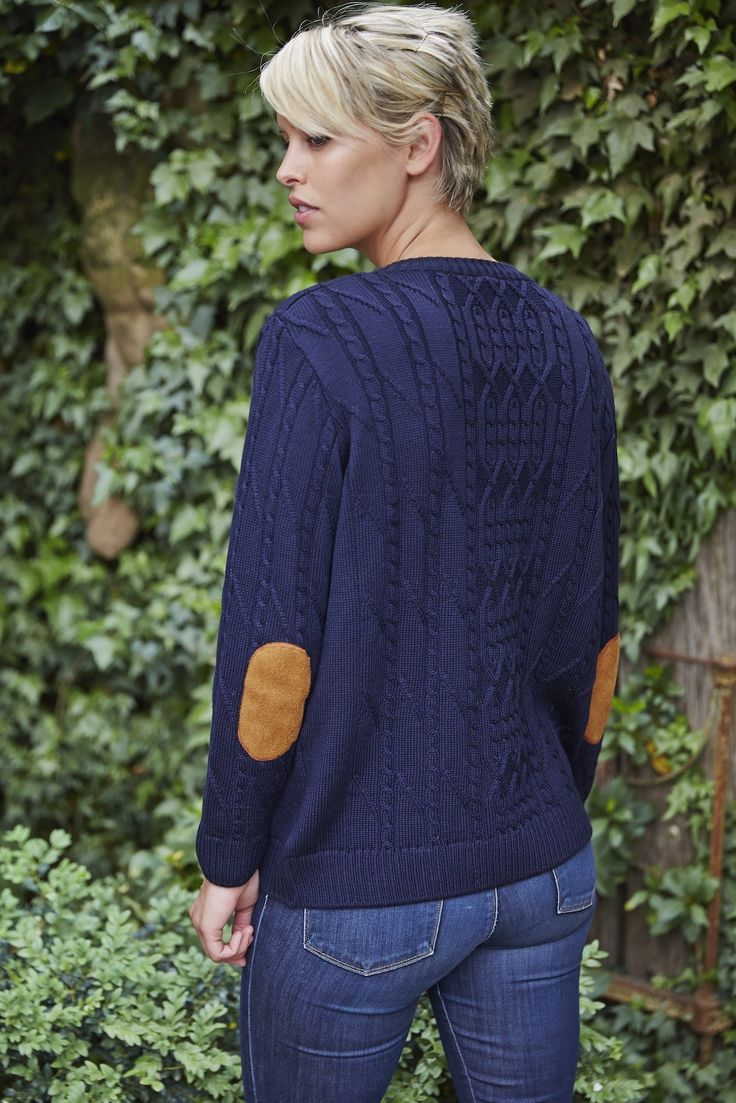 Lady Kate Cable Knit Boyfriend Jumper in Navy with suede elbow patches.  Women's knitwear made from Australian Merino wool.